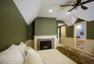 The interior of a master suite.